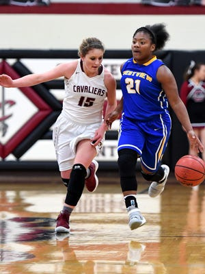 Crockett County's Bayleigh Woodward chases down Westview's Tasia Jones as she attempts to steal the ball during their game, Friday, Jan. 26. Westview defeated Crockett, 42-37.
