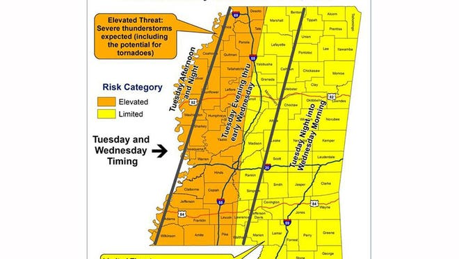 Severe weather possible Tuesday through Wednesday.