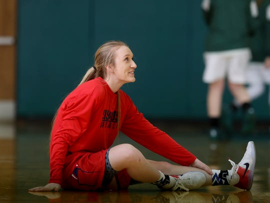 Former Santiam player Hannah Thompson stretches before a game against Shasta on Feb. 1, 2017.