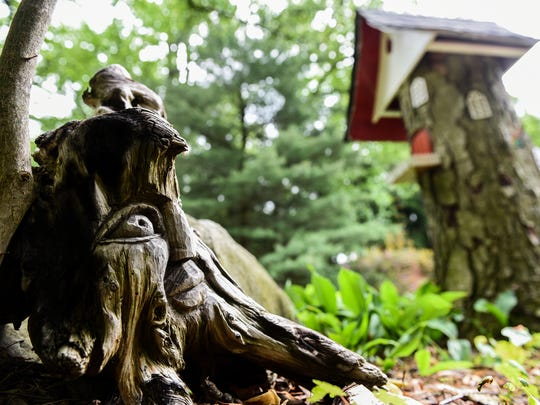 Kate Dommel of Mt. Gretna and her husband Dave created a Gnome dwelling in their front yard where a beech tree used to stand. It's pictured on Friday, May 26, 2017