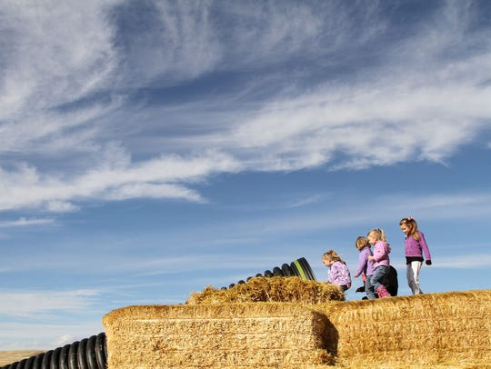 A group of kids wait in line on top a stack of hay