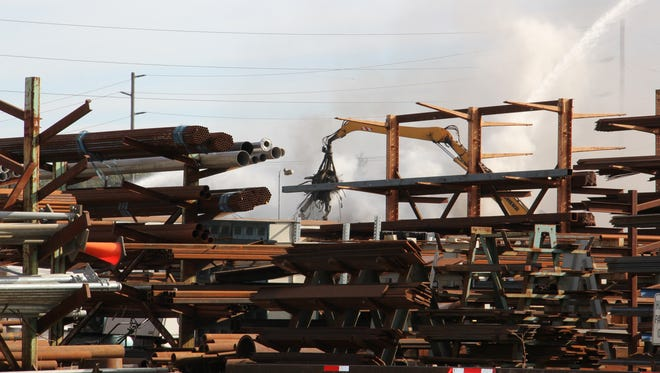 A fire ignited in a pile of scrap at Cherry City Metals Thursday morning, September 29, 2016.