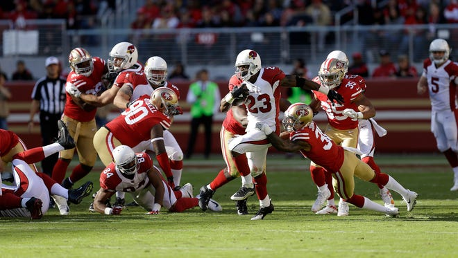 Adrian Peterson finished with 159 yards on 37 carries vs. the 49ers.