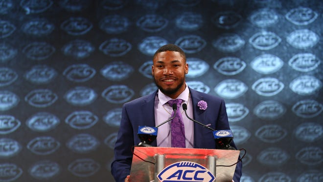 Louisville Cardinals wide receiver Jaylen Smith speaks with the media during ACC football media day at The Westin in Charlotte, North Carolina, on Thursday, July 19, 2018.