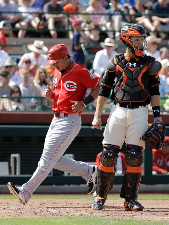 Cincinnati Reds' Sebastian Elizalde scores on a sacrifice fly as San Francisco Giants' Buster Posey watches during the fifth inning of a spring training baseball game, Monday, March 27, 2017, in Scottsdale, Ariz. (AP Photo/Darron Cummings)