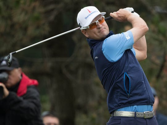 Zach Johnson plays his shot from the fifth tee during the third round of the Travelers Championship at TPC River Highlands on June 23, 2018, in Cromwell, Connecticut.