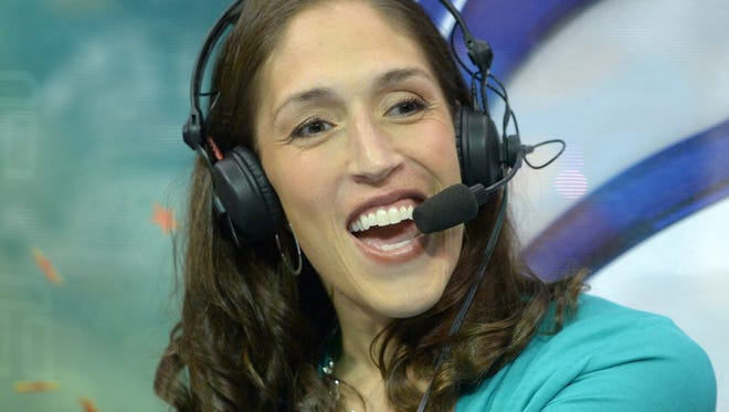 Jul 7, 2012; Los Angeles, CA, USA; ESPN color analyst Rebecca Lobo during the WNBA game between the Seattle Storm and the Los Angeles Sparks at the Staples Center.