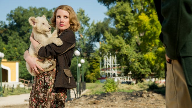 """""""I don't think an animal's goal is to hurt anyone,"""" says Jessica Chastain, star of """"The Zookeeper's Wife. """"I think you have to wait for them to invite you into their space."""""""