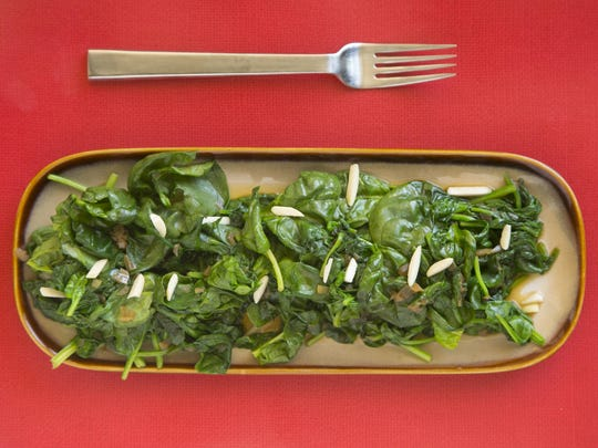 Green Tea-Wilted Spinach with Almonds from Robin Miller.