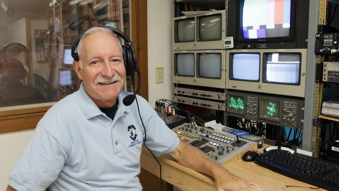 Keary Kautzer sits by his control booth at WSCS studios at UW-Sheboygan on Oct. 4.  After a 34 year career with Community TV WSCS, Kautzer is retired.