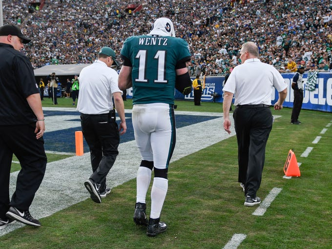 Philadelphia Eagles quarterback Carson Wentz (11) is