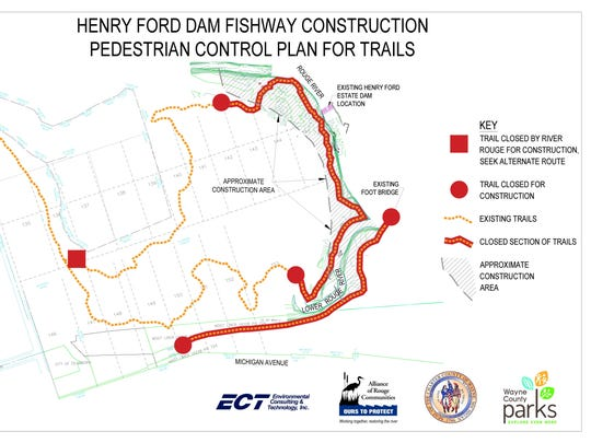 A map depicting scheduled trail closures ahead of construction on the fish passage.