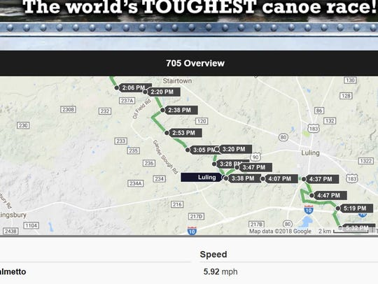 A screenshot of the tracker for Boat 705 (Wayne Thorp-Wes