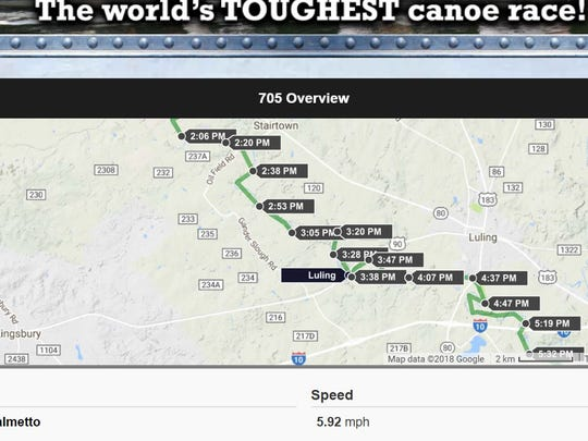 A screenshot of the tracker for Boat 705 (Wayne Thorp-Wes Wyatt) in the Texas Water Safari found at the website  texaswatersafari.org.