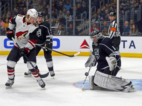 Los Angeles Kings goalie Jack Campbell (1) blocks the