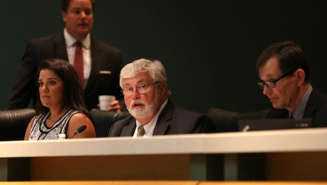 Sen. Jack Latvala, center, sits in on an appropriations committee panel to discuss future spending bills on the first day of the special session at the Capitol on Wednesday, June 7, 2017.