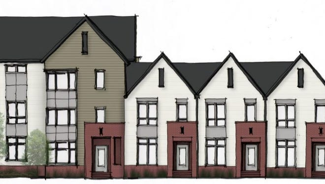 An elevation showing the front of one of the buildings planned at Charlotte Pike Townhomes.
