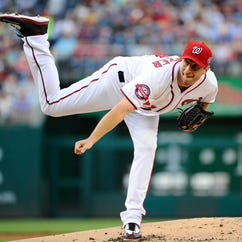 May 22, 2015; Washington, DC, USA; Washington Nationals starting pitcher Max Scherzer (31) throws the ball against the Philadelphia Phillies during the second inning at Nationals Park. Mandatory Credit: Brad Mills-USA TODAY Sports