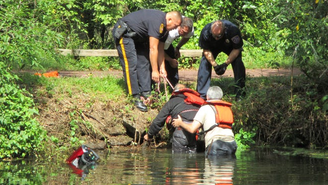 A Scotch Plains man who fell off his scooter was rescued from the canal water in Franklin Township on Tuesday.