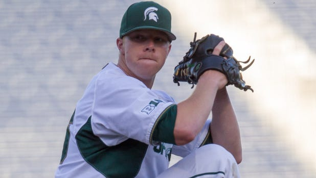 Michigan State junior pitcher Cam Vieaux, who is playing in the Cape Cod League in 2014.