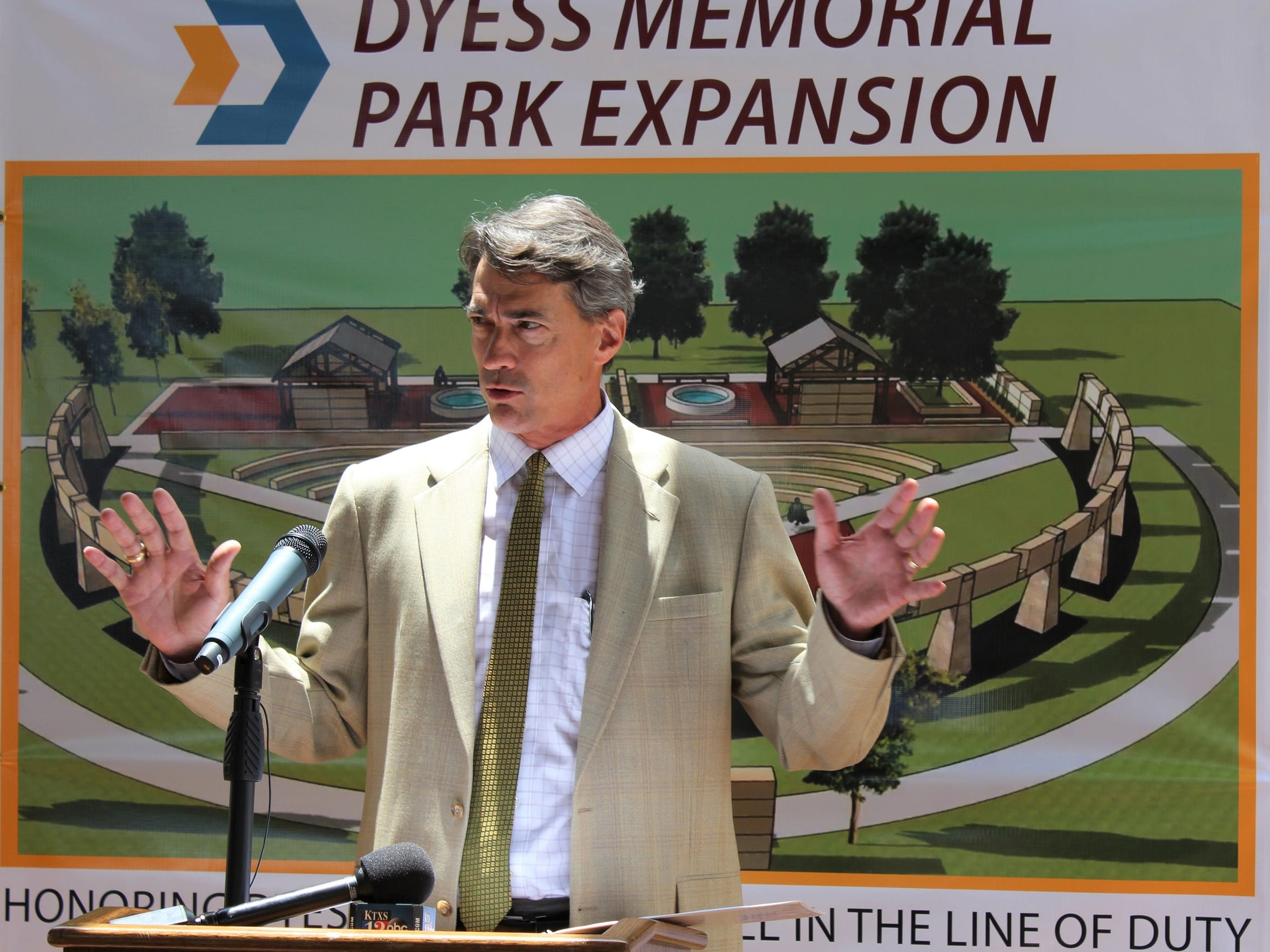 Landscape architect Mitch Wright of Austin talks about how the position of the sun will highlight memorials to fallen Dyess Air Force Base personnel at the expanded Dyess Memorial Park.  The memorials are scheduled to be completed in 2019.