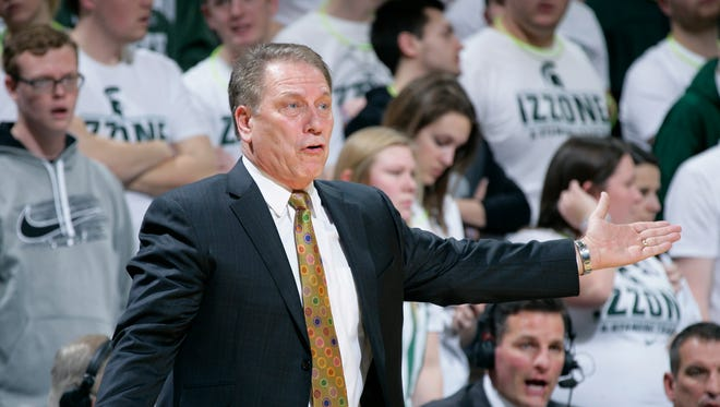 Michigan State coach Tom Izzo reacts during the first half of an NCAA college basketball game against Iowa, Thursday, Jan. 14, 2016, in East Lansing, Mich. Iowa won 76-59.