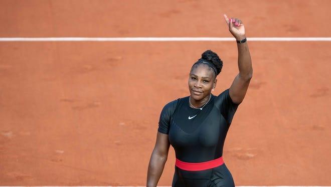 Serena Williams  celebrates match point  against Kristyna Pliskova on day three of the 2018 French Open at Stade Roland Garros.