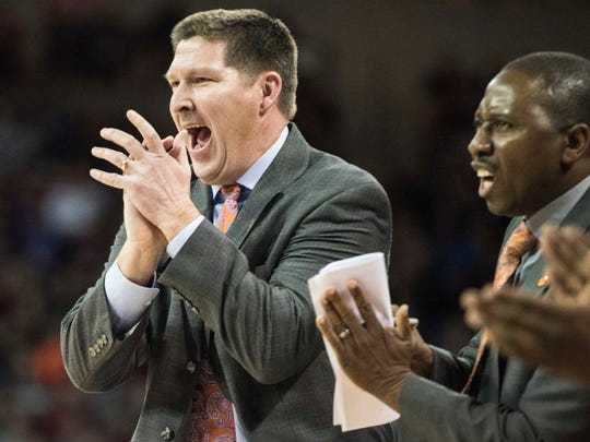 Clemson head coach Brad Brownell encourages his players in the first half of an NCAA college basketball game  Wednesday against South Carolina.