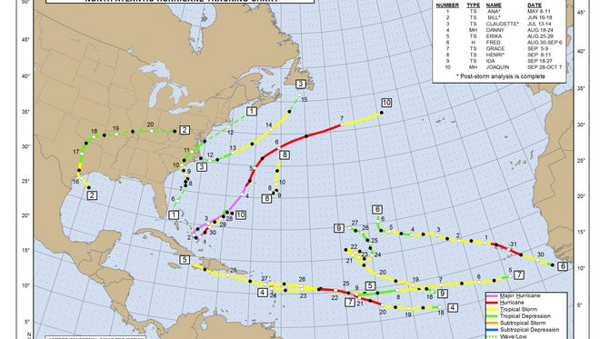 This chart shows the tracks of each tropical storm or hurricane in the 2015 Atlantic hurricane season. Not pictured is Hurricane Kate, which formed east of Canada and took a path toward the United Kingdom.
