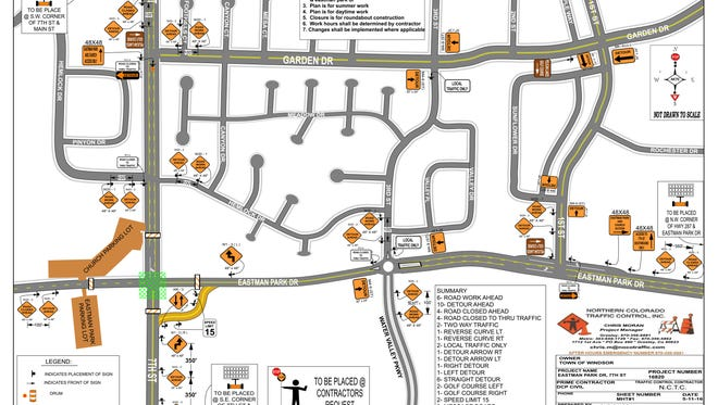This map shows the traffic control plan for the new Eastman Park Drive roundabout.