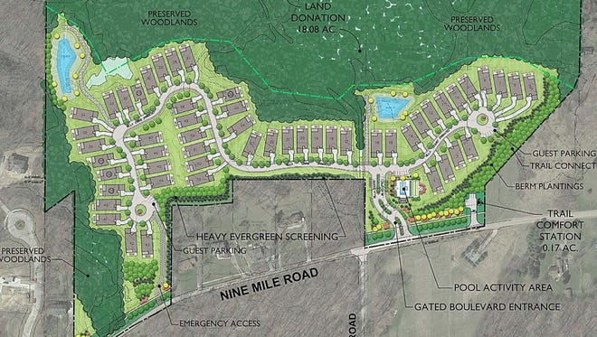 Villa D'Este, to be built on a 49-acre property east of Napier Road and north of Nine Mile, calls for 53 single-family ranch houses.