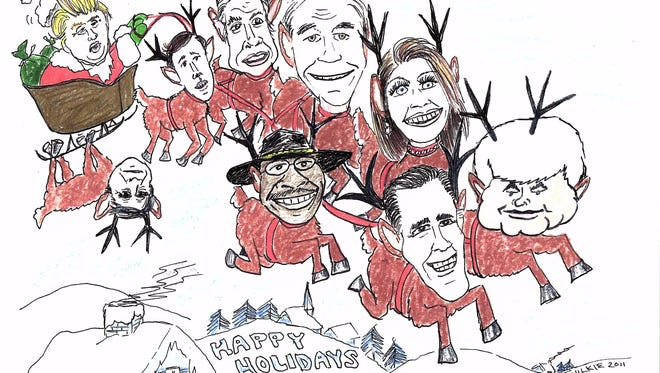 Artist Ken Wilkie will exhibit his collection of cartoons, including over 35 years of holiday cards, at the Plainsboro Library Gallery this December.