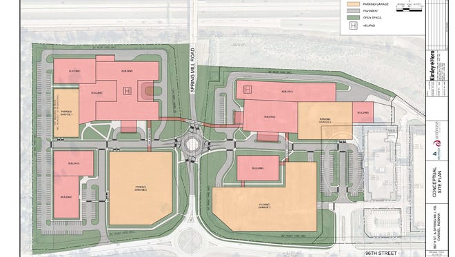 Ambrose Property Group submitted a concept plan to Carmel for a zoning change at 96th Street and Spring Mill Road.