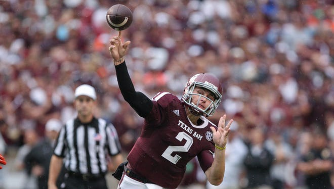 Texas A&M quarterback Johnny Manziel (2) attempts a pass during the first quarter against Sam Houston State on Sept. 7 at Kyle Field.