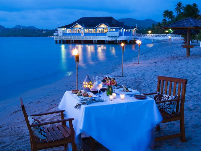 At Sandals Halcyon Beach in St. Lucia, dinner on the