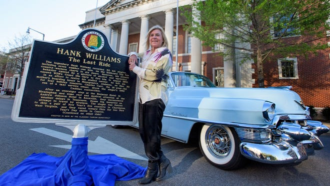 Jett Williams, daughter of Hank Williams, poses for photos before a private VIP screening of the Hank Williams biopic, I Saw the Light, held at City Hall in Montgomery, Ala. on Monday evening March 21, 2016.