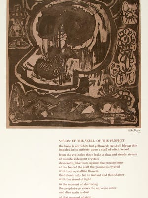 """Poet Lenoard Kandel, """"Vision of the Skull of th Prophet,"""" on exhibit at the Wichita Falls Museum of Art at MSU Texas"""