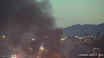 A Pinal County Sheriff's deputy was involved in a fiery wreck on I-10 near Casa Grande on May 19, 2015