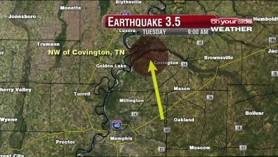 According to the U.S. Geological Survey, a 3.5 earthquake was centered north of Covington at approximately 8:26 a.m.