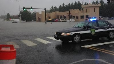 Flooding at Governors Avenue and Water Street in Dover. July 12, 2013