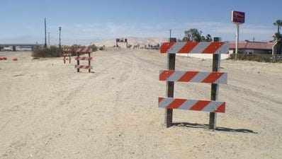 Road barriers were installed along a path where the westbound Interstate 10 off ramp used to be near Ramon Road. The barriers will be there indefinitely, according to the California Department of Transportation.