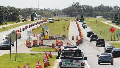 Road widening of Stadium Parkway is nearing completion