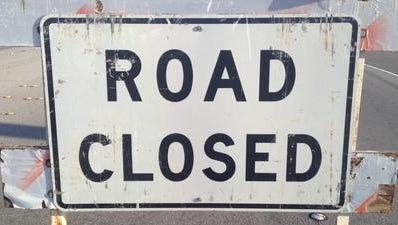 """A """"road close""""d sign."""
