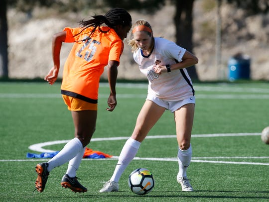 UTEP defenseman Carleigh Simmons, right, is a senior