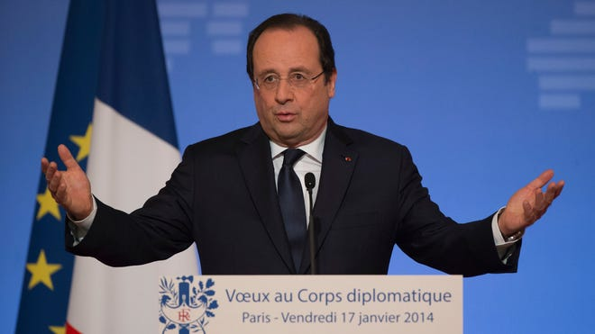 French President Francois Hollande gives a speech to foreign ambassadors in Paris on Jan. 17, 2014.