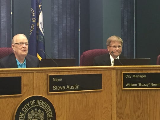 "City Manager William ""Buzzy"" Newman, at right, and Mayor Steve Austin take part in a Henderson City Commission meeting in this file photo."