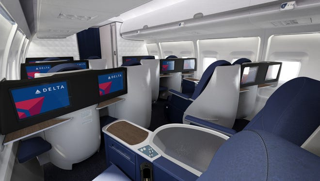 The new lie-flat seats in the BusinessElite cabin of Delta's reconfigured Transcontinental Boeing 757s.
