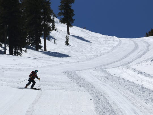 RGJ Outdoors reporter Benjamin Spillman goes ski touring at Kirkwood after the lifts closed for the season on April 20, 2018.