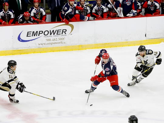 Elmira Jackals forward Sebastien Sylvestre looks to
