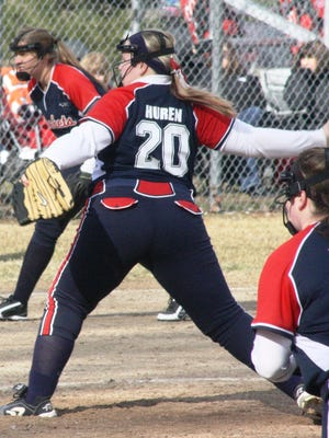 John Glenn's Mackenzie Huren delivers a pitch Tuesday afternoon.